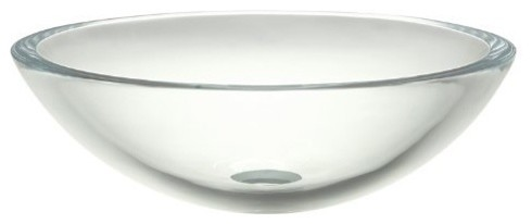 17 One Hole Round 19MM Glass Vessal TRANS Cream Stone contemporary-toilet-accessories