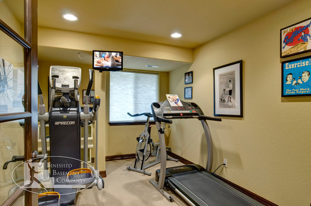 Basement gym workout area traditional home