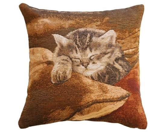 Pillow Decor Ltd. - Pillow Decor - Sleeping Cat 14 x 14 Throw Pillow - This small 14 inch square French tapestry throw pillow is the perfect picture of contentment. A kitten lies nestled among a pile of pillows with eyes closed and paw extended.