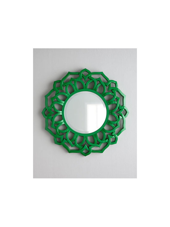 """Horchow - Chinois Mirror - What a find! A trendy mirror in the hottest new color in a flower-shaped frame inspired by chinoiserie. Frame made of polyurethane. Mirror is beveled. 33""""Dia. Imported. Boxed weight, approximately 9 lbs. Please note that this item may require a..."""