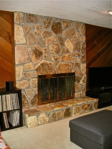 Cedar Plank Wall And Light Stone Fireplace 70 S House
