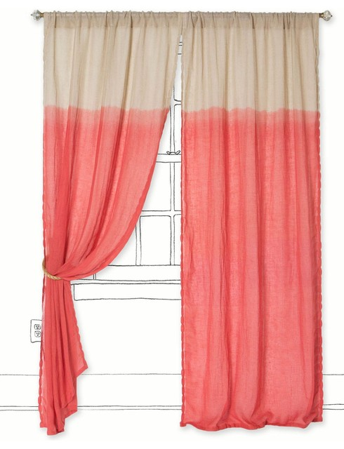 Pink And White Zig Zag Curtains Coral Colored Curtain Panels