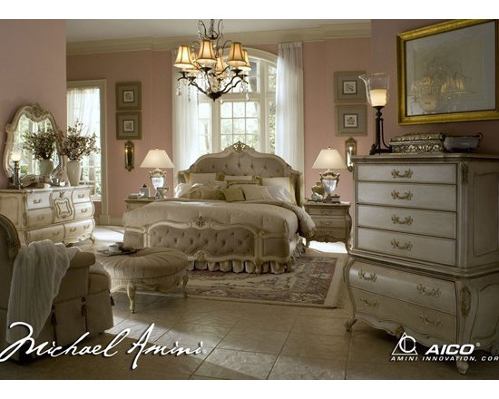 AICO Furniture - Lavelle Blanc 7 Piece Queen Wing Mansion Bedroom Set - 54000QWM - Set includes Queen Bed, 2 Nightstands Dresser and Mirror