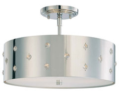 George Kovacs by Minka P035-077 3-Light Semi-Flush Mount - Chrome - 36.5W in. modern ceiling lighting