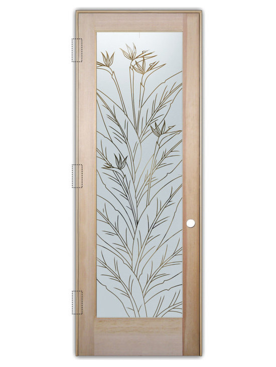 """Sans Soucie Art Glass (door frame material T.M. Cobb) - Interior Glass Door Sans Soucie Art Glass Bird of Paradise Pinstripe - Sans Soucie Art Glass Interior Door with Sandblast Etched Glass Design. GET THE PRIVACY YOU NEED WITHOUT BLOCKING LIGHT, thru beautiful works of etched glass art by Sans Soucie!  THIS GLASS IS SEMI-PRIVATE.  (Photo is View from OUTside the room.)  Door material will be unfinished, ready for paint or stain.  Satin Nickel Hinges. Available in other wood species, hinge finishes and sizes!  As book door or prehung, or even glass only!  1/8"""" thick Tempered Safety Glass.  Cleaning is the same as regular clear glass. Use glass cleaner and a soft cloth."""