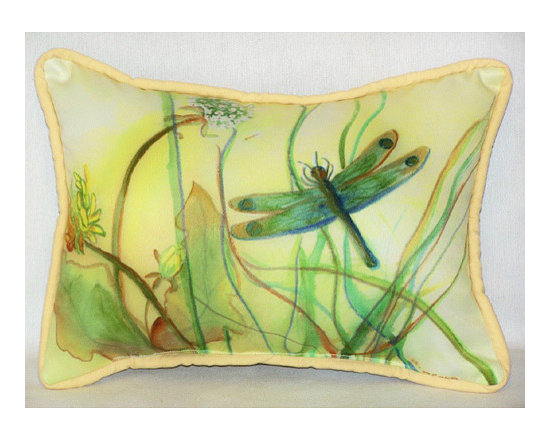 Betsy's Dragonfly - Small Outdoor Pillow -