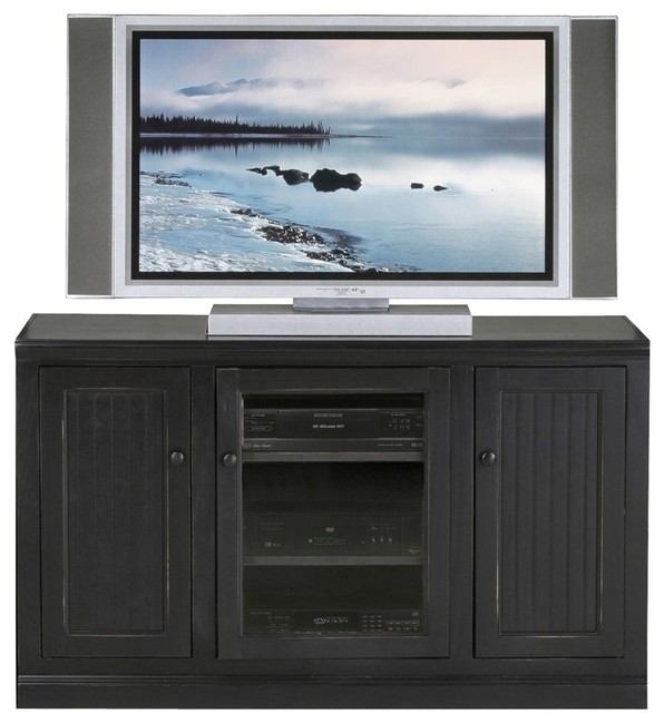 Coastal Thin 55 in. Tall Entertainment Console (Black) - Contemporary - Entertainment Centers ...