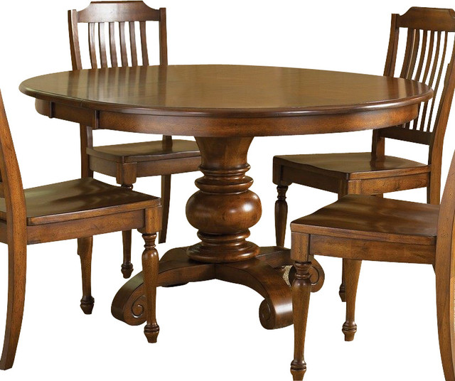 48 inch round dining table in chestnut medium wood dining tables