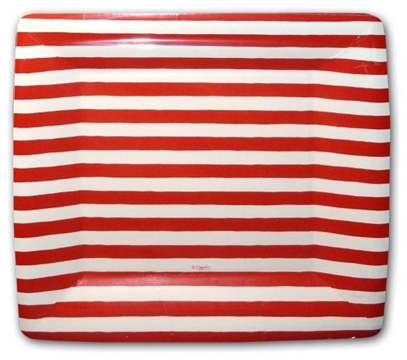 Red and White Stripe Square Dessert Plates contemporary-plates