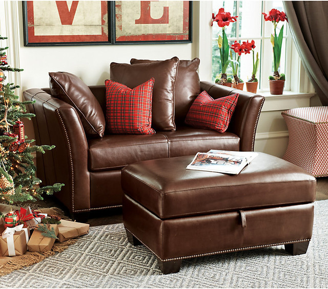 Tate Leather Twin Sleeper and Storage Ottoman transitional-sleeper-sofas