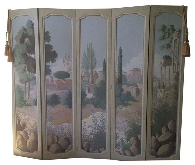Pre owned hand painted tuscan folding room divider screen for Painted screens room dividers
