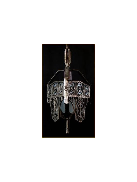Art Deco entry pendant - Unusual 1930s Art Deco entry pendant, heavy cast iron with glass panels, restored and rewired ready to welcome you home.