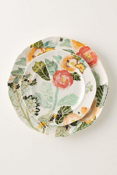Watercolor Petals Salad Plate contemporary-salad-and-dessert-plates
