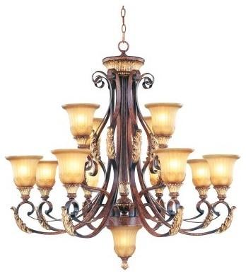 Livex Villa Verona 8559-63 Chandelier - Verona Bronze with Aged Gold Leaf Accent modern-chandeliers