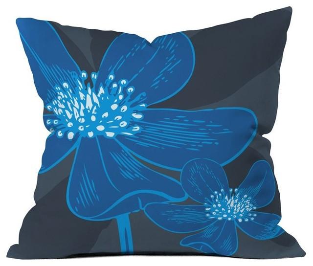 DENY Designs Caroline Okun Vast Anemone Outdoor Throw Pillow Multicolor - 15392- modern-outdoor-pillows