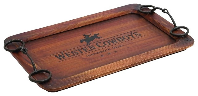 Country Western Cowboy Wood Tray Brown Home Decor Rustic Serving Trays