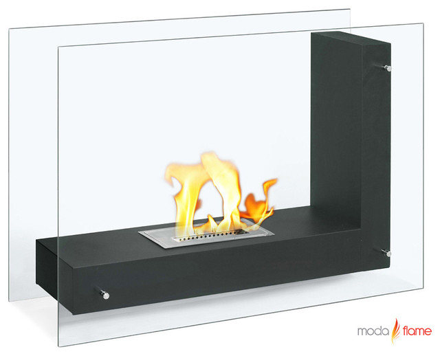 Moda Flame Arta Contemporary Indoor Outdoor L Shaped Ethanol Fireplace Modern Indoor Fireplaces