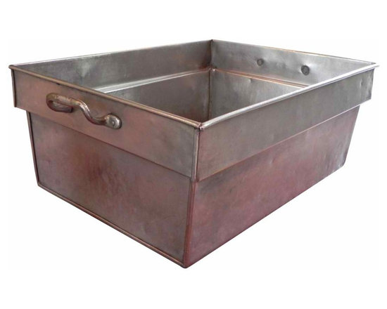 Large Industrial Bin - Made by the W.E. Dougherty company from Philadelphia, PA. Founded in the 1800's they manufactured commercial kitchen equiptment and supplies. As soon as I saw this, I invisioned the perfect tabletop cooler. Just fill with ice and drinks and you are all set. Handles on both sides.