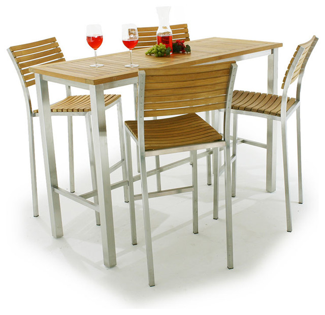 Vogue teak and stainless steel bar table set for 4 modern bar tables