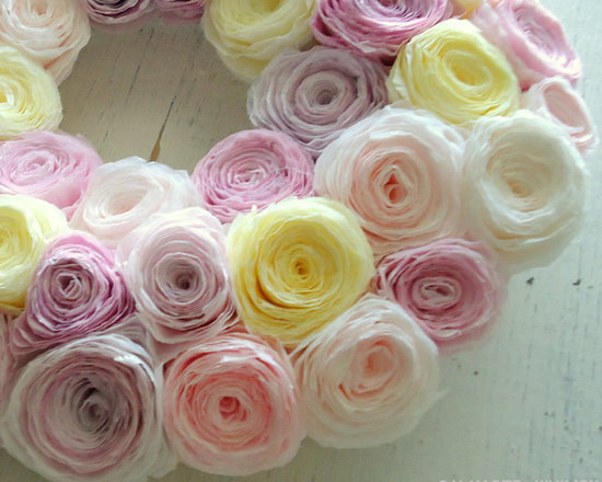Shades of Spring Wreath - Wreath created using paper flowers made from hand dyed coffee filters.
