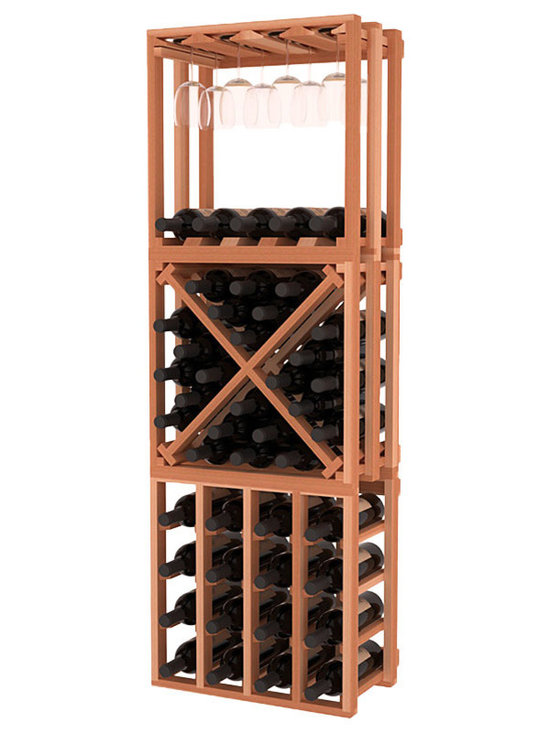 Lattice Stacking Cube - 3 Piece Set in Redwood - Designed to stack one on top of the other for space-saving wine storage our stacking cubes are ideal for an expanding collection. This 3-piece set comes with (1) X-Cube, (1) Stemware Cube and (1) 4 Column Cubicle. Use as a stand alone rack in your kitchen or living space or pair with more stacking cubes as your wine collection grows.