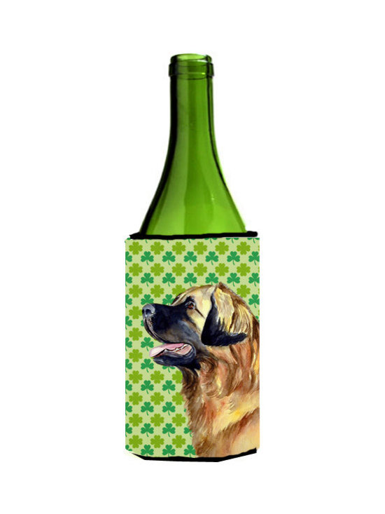 Caroline's Treasures - Leonberger St. Patrick's Day Shamrock Portrait Wine Bottle Koozie Hugger - Leonberger St. Patrick's Day Shamrock Portrait Wine Bottle Koozie Hugger Fits 750 ml. wine or other beverage bottles. Fits 24 oz. cans or pint bottles. Great collapsible koozie for large cans of beer, Energy Drinks or large Iced Tea beverages. Great to keep track of your beverage and add a bit of flair to a gathering. Wash the hugger in your washing machine. Design will not come off.