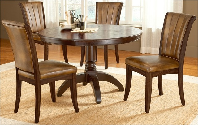 Transitional Hillsdale Grand Bay Round Cherry 5 Piece Dining Set traditional-dining-tables