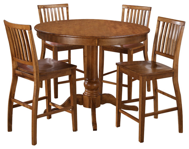 Steve Silver Candice 5 Piece 48 Inch Round Counter Height Set in Oak contemporary-dining-sets