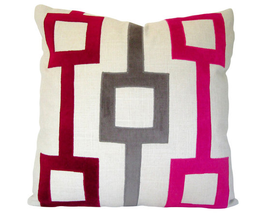 Therese Marie Designs - Pink and Gray Velvet and Linen Applique Pillow Cover - Fuchsia, cranberry, and smoke gray velvet are hand-cut and appliqued onto a square of ecru linen. Fabrics used are all medium weight giving this pillow a substantial feel. *For a 20-inch insert*.