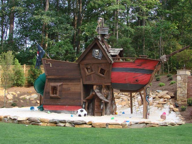 Outdoor Playhouse And Pirate Ship 24