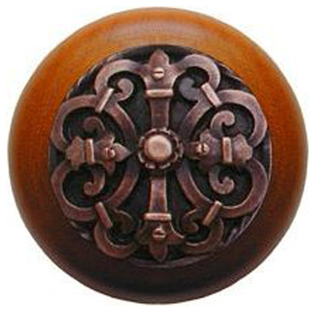 Notting Hill Chateau/Cherry Wood Knob - Antique Copper modern-cabinet-and-drawer-knobs