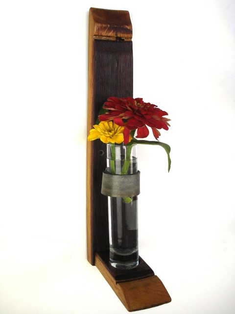 Wall Hanging Flower Holders - 100% recycled glass and Wine Barrels