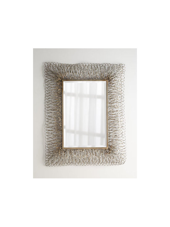 """Horchow - Champagne Strands Mirror - Add drama, depth, and texture to any wall with this dynamic mirror framed by hand-forged strands of metal. Hand-painted silvery finish with champagne highlights. Mirror has a generous 1.25"""" bevel. Hangs vertically or horizontally. 44""""W x 3""""D x 56""""T...."""