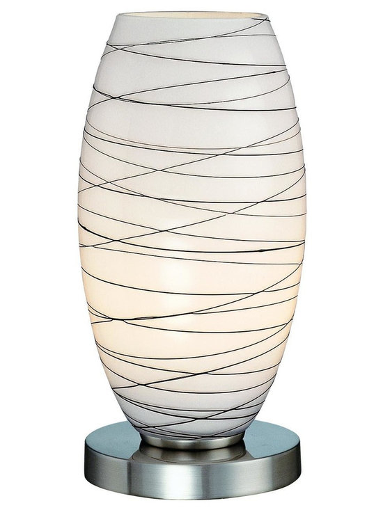 Lite Source - Polished Steel 1 Light Table Lamp with Glass Shade from the Giacomo Collection - Lite Source LS-20855 Giacomo Table Lamp, Polished Steel This item by Lite Source is available in a polished steel finish. Illuminated by one 60-watt fro