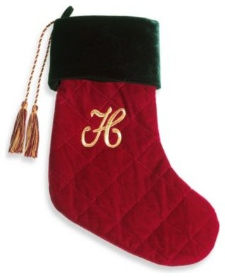 Initial Christmas Stocking made with CRYSTALLIZED - Swarovski Elements - H contemporary-christmas-stockings-and-holders