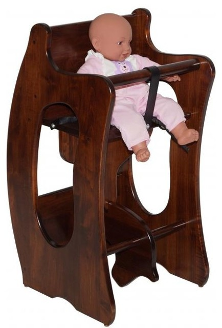 Handcrafted Amish 3 In 1 High Chair Rocking Horse And Writing Desk Transi