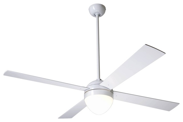 52 modern fan gloss white ball with light ceiling fan contemporary ceiling fans by euro - Modern white ceiling fan ...