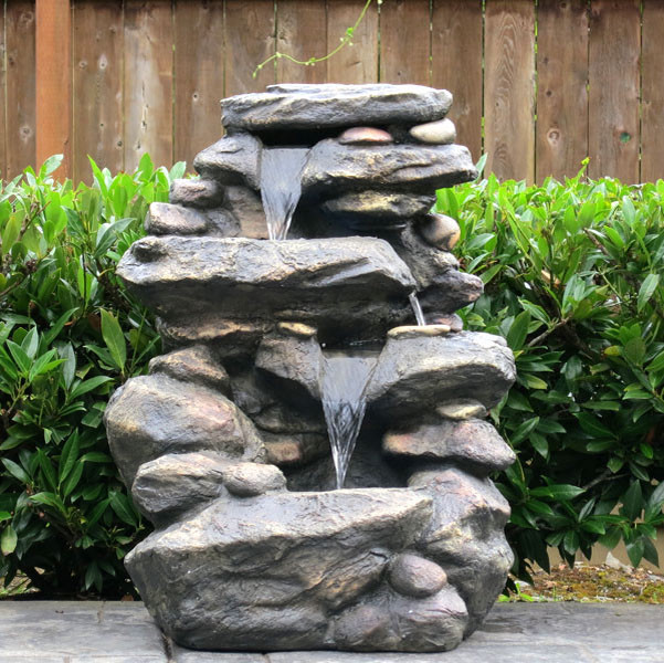 27 rock waterfall fountain w led lights traditional outdoor fountains and ponds - How to build an outdoor fountain with rocks ...