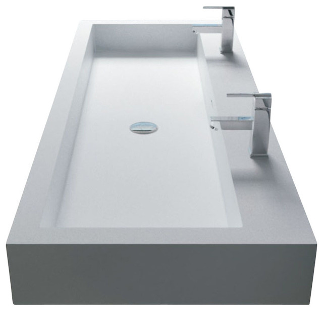 Solid Stone Sink : ... Wall Hung Solid Surface Stone Resin Sink contemporary-bathroom-sinks