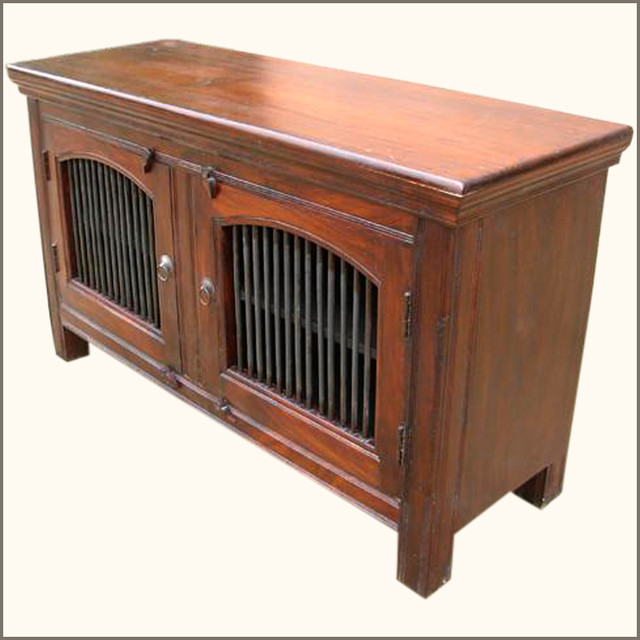 Solid wood wrought iron door rustic sideboard storage
