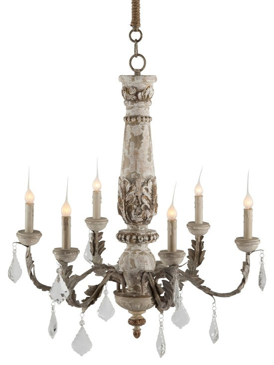 Aidan Gray Chateau Bealieu Leaf Chandelier - An aged antiqued grey finish adorns this handmade chandelier with sparking crystal drops. Intricate leaf carvings adorn the base and accent the iron arms in stunning detail. 12 Cut Crystal drops included.