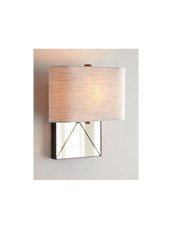 """Regina-Andrew Design - Regina-Andrew Design """"Parisian"""" Wall Sconce - Sometimes simple is best as demonstrated by the clean lines of this petite sconce. Its size makes it perfect for hallway, entryway, powder room, or other small spaces. Or use multiples above a sofa or console. Made of mirrored glass and metal. Linen s..."""