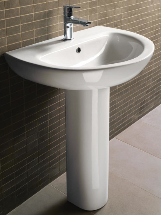"Round Pedestal Ceramic Sink By GSI - Pedestal bathroom sink made of white ceramic. Sink features one hole (as shown), no hole, or three hole options. Sink includes an overflow. Sink dimensions: 34.3"" (Height), 18.9"" (Depth), 25.4"" (Width)"