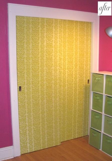 designsponge- wallpaper on closet doors