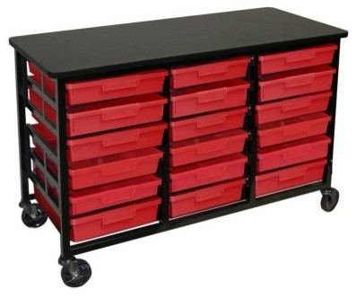 Luxor Wide Metal Storage Unit with 18 Red Trays - Modern - Storage Units And Cabinets - by Hayneedle