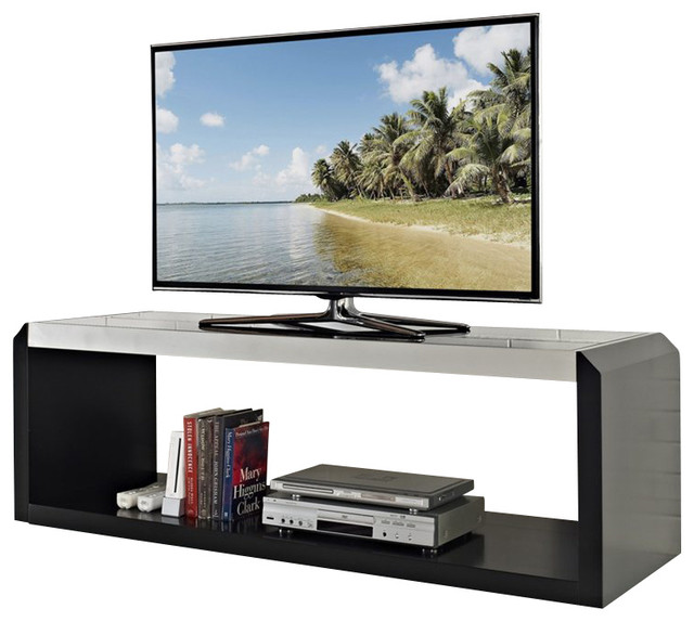 "Walker Edison 60"" Glass and Wood TV Stand in Black modern-media-storage"