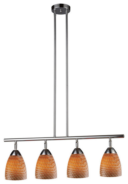Elk Lighting Celina 4-Light Linear in Polished Chrome & Coco Glass contemporary-kitchen-lighting-and-cabinet-lighting
