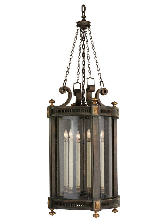 Fine Art Lamps - Beekman Place Outdoor Lantern - Inspired by the style of historic New York neighborhoods, this lantern has a simple, stately elegance. The weathered brass frame is subtly accented with solid brass knobs and a decorative canopy top, while handblown seedy glass and authentic-looking candle lights complete the antique look. Hang it at the entrance or on the deck for some subtle period charm.