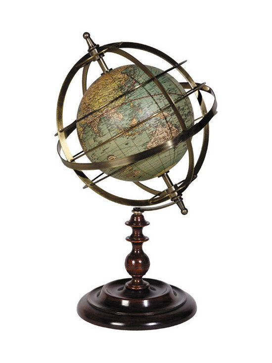 """Inviting Home - Globe Armillary Sphere - armillary sphere with globe 7"""" x 12""""H Globe armillary sphere is good for life changing conversations about the historical aspects of the Copernican versus the Ptolemaic view of the universe�"""