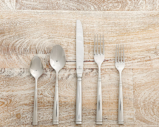 Ballard Designs - Newport Flatware 20-Piece Set - 4 each of Dinner Knife, Dinner Fork, Salad Fork, Soup Spoon & Teaspoon. Commercial quality. Dishwasher safe. The trim, tailored lines of our timeless Newport Flatware dress up or down with the occasion. Great for everyday or weekend entertaining, it's crafted of heavy-gage 18/10 stainless steel, so each piece feels substantial in your hand.Newport 20-Piece Flatware Set features:. . .